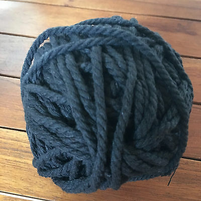 BLACK Macrame Cotton Natural Rope - 3-4mm thick 3 ply for wall art/macrame/looms