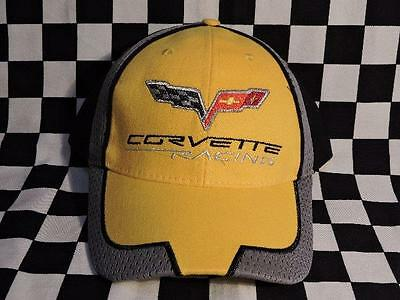Corvette Racing Embroidered Men's Black & Yellow Cotton Cap