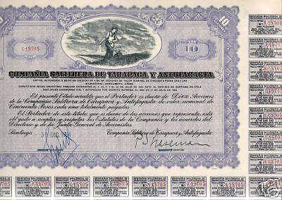 HUGE RARE LAVENDER 1934 CHILE MINING BOND! FINE VIGNETTE/COUPONS Retail Val $200