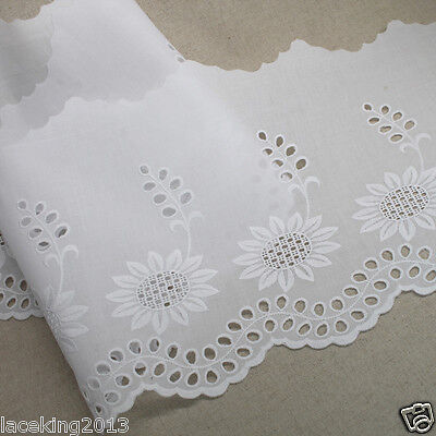 "1y Broderie Anglaise mesh eyelet lace trim 12/"" Ivoy YH1009R laceking 30cm"