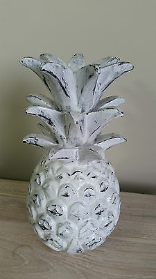 Bali Hand Carved Wooden Pineapple Ornamental Statue Sculpture White Wash Large
