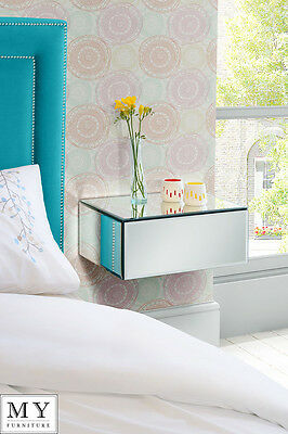 Inga floating mirrored bedside table