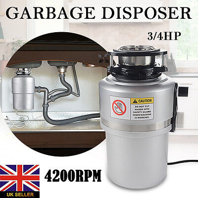 3/4HP 4200RPM Waste Food Garbage Disposer Processor Food Kitchen Disposal Tool