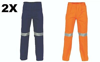 2 X Cotton Drill Pants With 3M Reflective Tape- DNC Workwear 3314