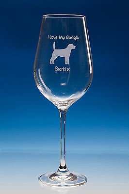 Beagle Dog Gift Personalised Engraved Quality Wine Glass Choose Your Message