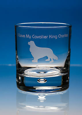 Cavalier King Charles Spaniel Dog Gift Personalised Engraved Whisky Glass: