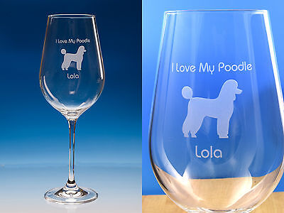 Poodle Dog Gift Engraved Large Fine Quality Wine Glass: Gift for Dog Lover