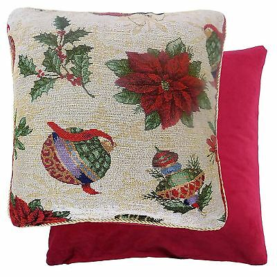 """Luxury Thick Christmas Baubles Holly Cotton Tapestry Red Green Cushion Cover 18"""""""