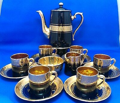 Antique RARE Gibson & Sons SEVRES LATE DAVENPORT Black/Gold 15 PIECE COFFEE SET
