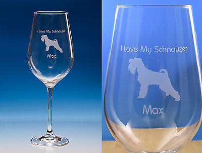 Schnauzer Dog Gift Engraved Large Fine Quality Wine Glass: Gift for Dog Lover