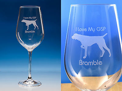German Shorthaired Pointer Gift Engraved Quality Wine Glass: Gift for Dog Lover