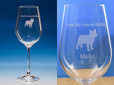 French Bulldog Gift Engraved Large 440ml Quality Wine Glass Can Be Personalised