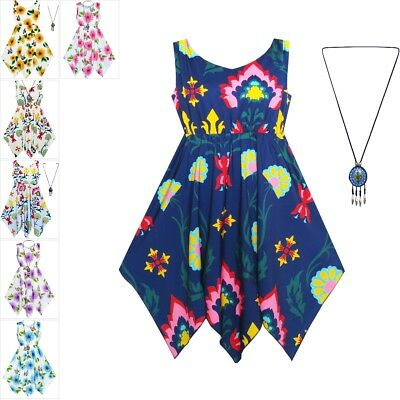 Sunny Fashion Girls Dress Flower Print Hanky Hem With Necklace Age 7-14 Years