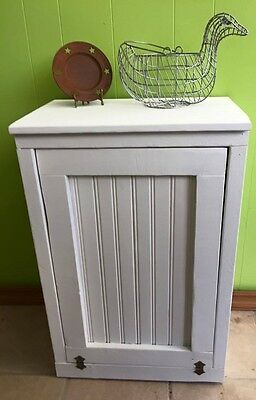 Handcrafted Primitive Pine Wood Trash Can/ Cabinet