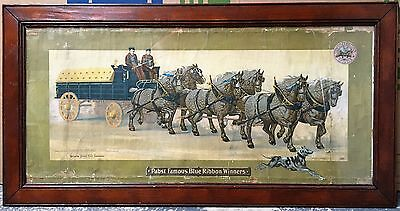 1904 PRE-PROHIBITION Pabst Blue Ribbon Beer Advertising Sign Wilburs Tonic PBR