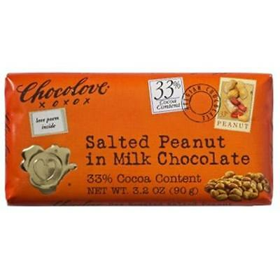 Chocolove Salted Peanut In Milk Chocolate Bar 3.2 Oz -Pack of 12