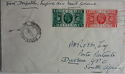 1937 Empire Air Mail First Flight England To South Africa Cover + Jubilee Stamps