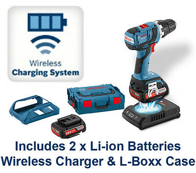 Bosch 18V Cordless Combi Drill Wireless Charging System & 2 x Li-ion Batteries