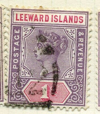 LEEWARD ISLANDS;  1890 early classic QV issue used value 1d.