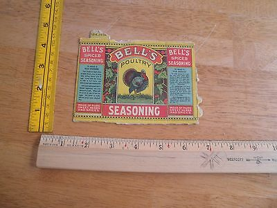 1930's Bell's Poultry Seasoning box flattened Spices Turkey colorful