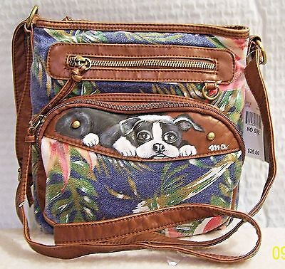 Boston Terrier hand painted canvas and faux leather medium Chateau crossbody bag