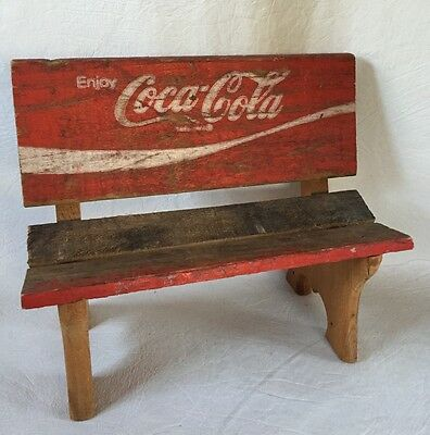 Coca Cola Miniature Doll Bench Made from real rough Wood Crate 12 x 10 inches