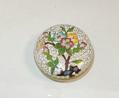 Small Chinese Cloisonne Enamel Floral Trinket Jar Box