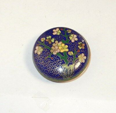 Small Chinese Cloisonne Blue Enamel Floral Trinket Jar Box