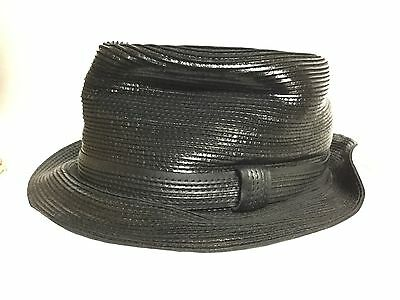 d087859ee6124 MAKINS HATS USA BLACK LEATHER TRILBY S 55cm 6 7 8 Hand Crafted Small ...