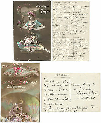 LOT 2 CPA fantaisie postcard tradition poisson affection amour 1er AVRIL [158 A]