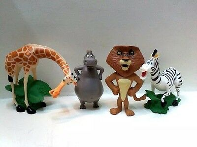 4 Pcs set of MADAGASCAR MOVIE FIGURES CAKE TOPPERS GIFT Kid Toy