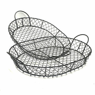 Metal Baskets Fruit Bowl Serving Tray Black Cake Stand Kitchen *PAIR* 42cm 3808