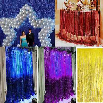 Gold Silver Metallic Fringe Curtain Party Foil Tinsel Room Decor Door Wholesale