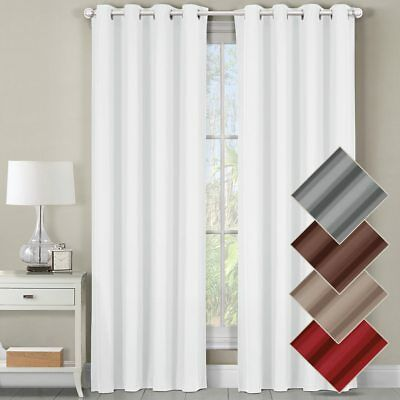 Luxor Top Grommet Panels Heavyweight 100% Cotton Window Treatment Curtains Solid