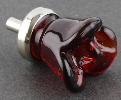 Ruby Red Glass Flower Rose Cabinet Knob Drawer Pull 7