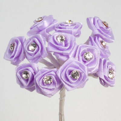 Bunch 12 Stems - 15mm DIAMANTE Ribbon Rose Flower Spray Favour Craft Decoration