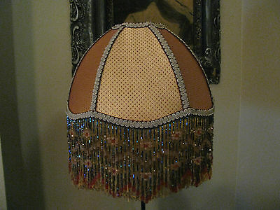 """Victorian French Medium Lamp Shade """"Golden""""  Beads 6"""" Fringe UNO Available Look!"""