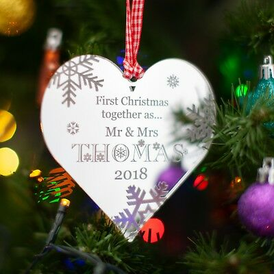 Personalised Christmas Tree Decoration, 1st First Xmas, Mirror Heart Bauble Gift