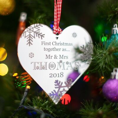 Personalised Mirror Christmas Tree Decoration. Our First Christmas Heart Bauble.