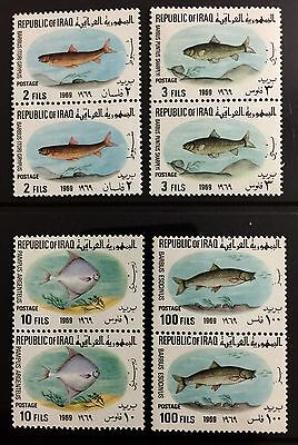 Iraq Stamps - 1969 - Fish - Vertical MNH Pair - Complete Set Of 4 Stamps