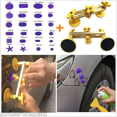 Car SUV Body Paintless PDR Tools Bridge Dent Puller Removal + 24pc PDR Glue Tabs