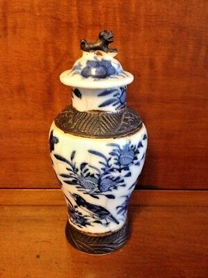 Chinese Ming Dynasty Style Porcelain Foo Dog Blue & White Ginger Jar Rare Look!
