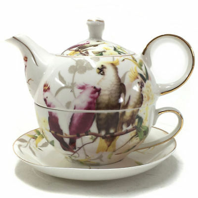 Bird Cockatoo Teapot Tea For One Ceramic Kitchen China Porcelain Gift Box