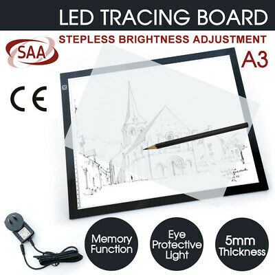 A3 LED Light Box Tracing Board Art Design Stencil Drawing Copy Pad Thin AU Stock