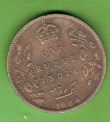 1904  British  India  One Rupee  Silver  Coin