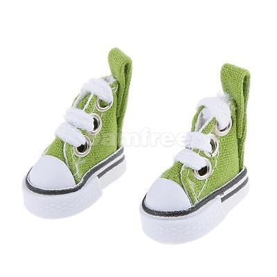 Pair of Lace Up Canvas Shoes for 1/6 Barbie Blythe Pulip Dolls Clothes Green
