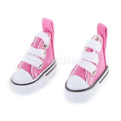 Pair Lace Up Canvas Shoes for 1/6 Barbie Blythe Pulip Dolls Clothes Fuchsia