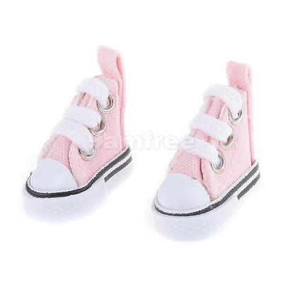 Pair of Lace Up Canvas Shoes for 1/6 Barbie Blythe Pulip Dolls Clothes Pink