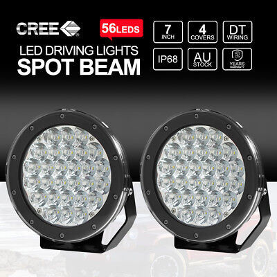 Pair 7 inch 420W CREE Spot Led Driving Lights Off Road 4WD Work Spotlights HID