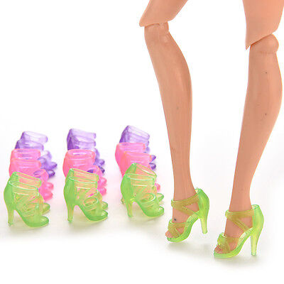 10 Pairs Dolls Shoes High Heel Transparent Shoes For Barbie Dolls Outfit CCC
